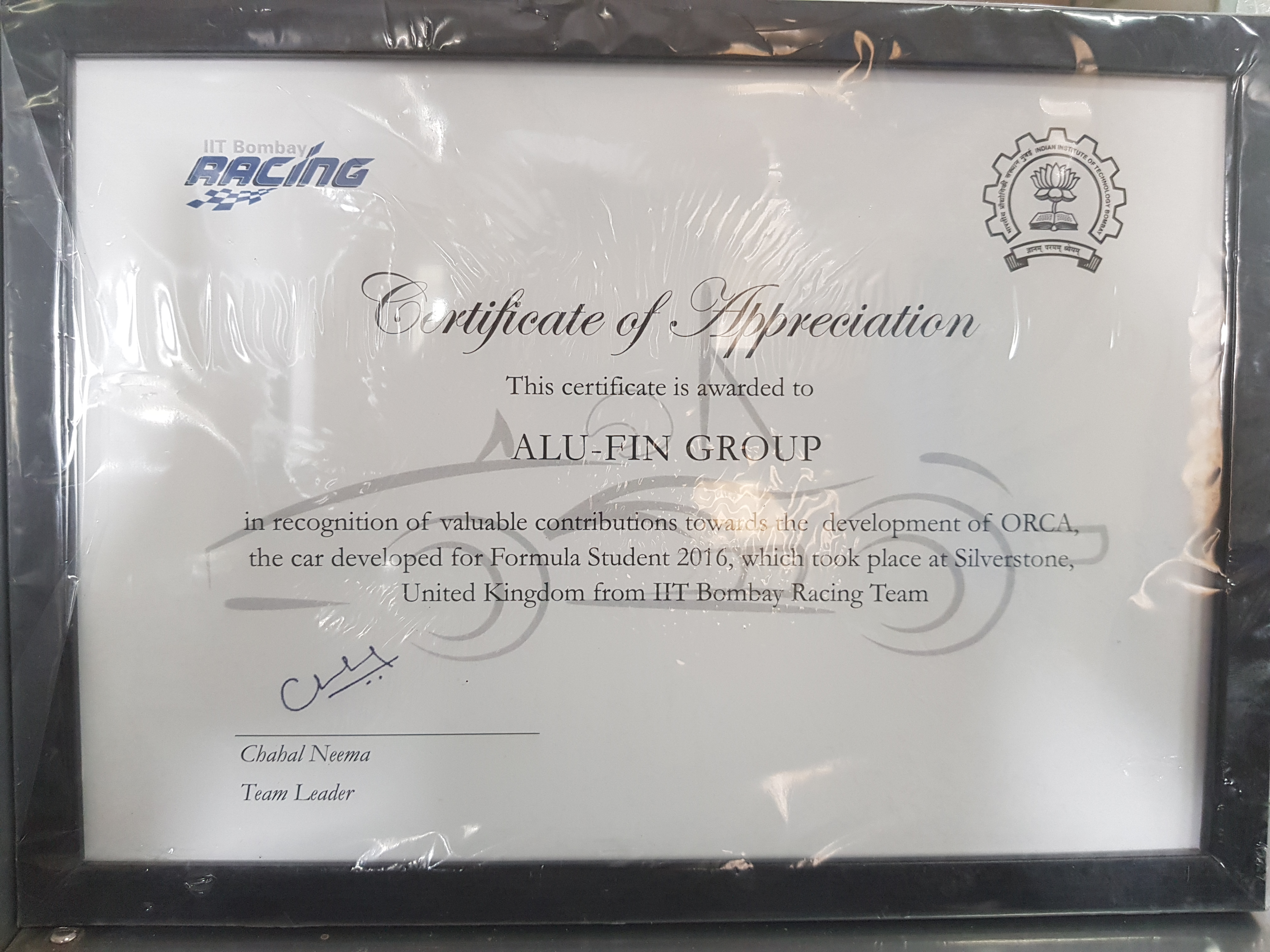 Certificate of Appriciation